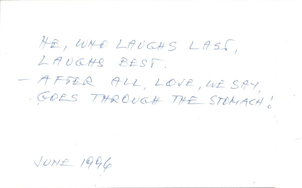 June 1996 Picture 1 Guest's comment at the back