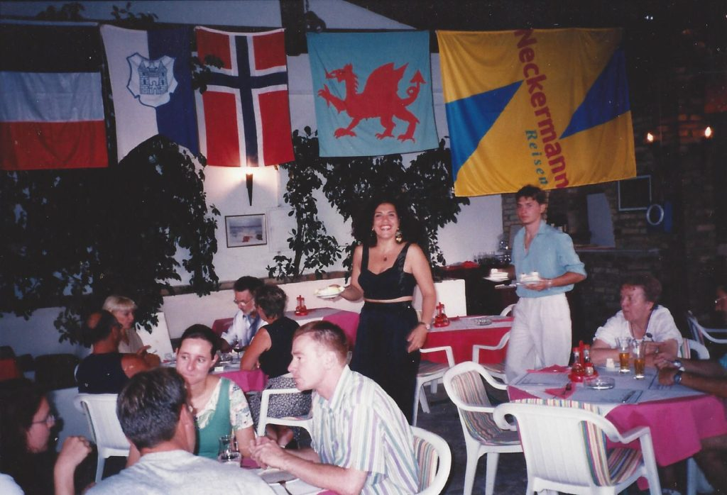 Summer 1997 Wafaa working at the Iliada Beach Restaurant during